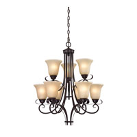 Brighton 9 Light 25 inch Oil Rubbed Bronze Chandelier Ceiling Light in Light Amber, CFL