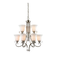Brighton 9 Light 25 inch Brushed Nickel Chandelier Ceiling Light in White, CFL