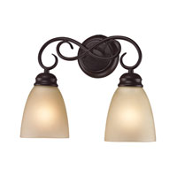 Chatham 2 Light 14 inch Oil Rubbed Bronze Bath Wall Light in Light Amber, Incandescent