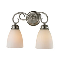 Chatham 2 Light 14 inch Brushed Nickel Bath Wall Light in White, Incandescent