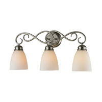 Chatham 3 Light 23 inch Brushed Nickel Bath Wall Light in White, Incandescent