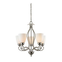 Chatham 5 Light 22 inch Brushed Nickel Chandelier Ceiling Light in White, CFL