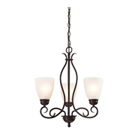 Cornerstone by Elk Chatham 3 Light Chandelier in Oil Rubbed Bronze with White Glass 1153CH/10