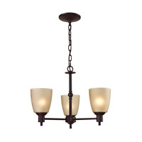 Jackson 3 Light 20 inch Oil Rubbed Bronze Chandelier Ceiling Light in Light Amber, CFL