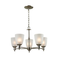 Jackson 5 Light 22 inch Brushed Nickel Chandelier Ceiling Light in White, CFL