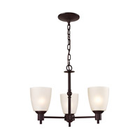 Cornerstone by Elk Jackson 3 Light Chandelier in Oil Rubbed Bronze with White Glass 1353CH/10