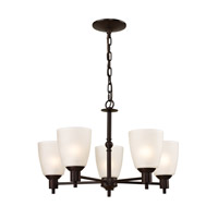 Cornerstone by Elk Jackson 5 Light Chandelier in Oil Rubbed Bronze with White Glass 1355CH/10