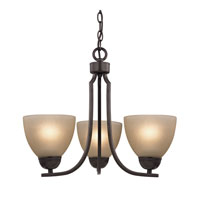 Kingston 3 Light 19 inch Oil Rubbed Bronze Chandelier Ceiling Light in Cafe Tint, CFL