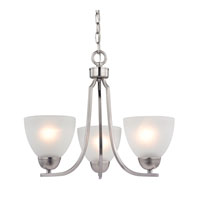 Kingston 3 Light 19 inch Brushed Nickel Chandelier Ceiling Light in White, CFL