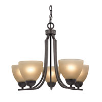 Kingston 5 Light 22 inch Oil Rubbed Bronze Chandelier Ceiling Light in Cafe Tint, CFL
