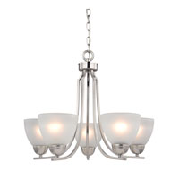 Kingston 5 Light 22 inch Brushed Nickel Chandelier Ceiling Light in White, CFL