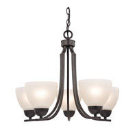 Cornerstone by Elk Kingston 5 Light Chandelier in Oil Rubbed Bronze with White Glass 1455CH/10