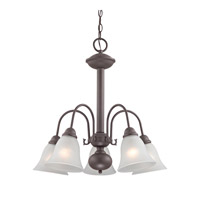 Cornerstone by Elk Bellingham 5 Light Chandelier in Oil Rubbed Bronze with White Glass 1905CH/10