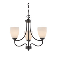 Cornerstone by Elk Arlington 3 Light Chandelier in Oil Rubbed Bronze with White Glass 2003CH/10