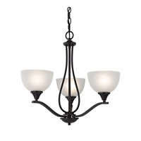 Cornerstone by Elk Bristol Lane 3 Light Chandelier in Oil Rubbed Bronze with White Glass 2103CH/10