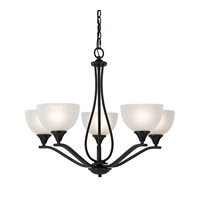 Cornerstone by Elk Bristol Lane 5 Light Chandelier in Oil Rubbed Bronze with White Glass 2105CH/10