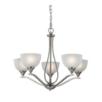 Cornerstone by Elk Bristol Lane 5 Light Chandelier in Brushed Nickel with White Glass 2105CH/20