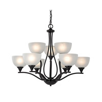 Cornerstone by Elk Bristol Lane 9 Light Chandelier in Oil Rubbed Bronze with White Glass 2109CH/10