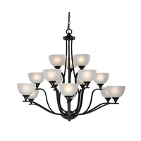 Cornerstone by Elk Bristol Lane 15 Light Chandelier in Oil Rubbed Bronze with White Glass 2115CH/10