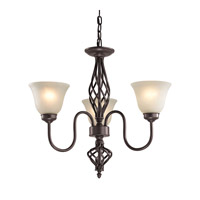 Cornerstone by Elk Santa Fe 3 Light Chandelier in Oil Rubbed Bronze with White Glass 2203CH/10