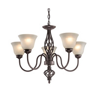 Cornerstone by Elk Santa Fe 5 Light Chandelier in Oil Rubbed Bronze with White Glass 2205CH/10