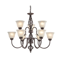 Cornerstone by Elk Santa Fe 9 Light Chandelier in Oil Rubbed Bronze with White Glass 2209CH/10