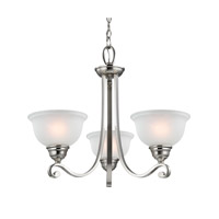 Cornerstone by Elk Hamilton 3 Light Chandelier in Brushed Nickel with White Glass 2303CH/20