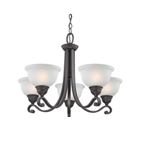 Cornerstone by Elk Hamilton 5 Light Chandelier in Oil Rubbed Bronze with White Glass 2305CH/10