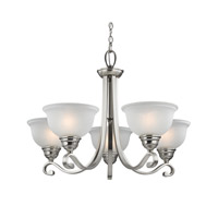 Cornerstone by Elk Hamilton 5 Light Chandelier in Brushed Nickel with White Glass 2305CH/20