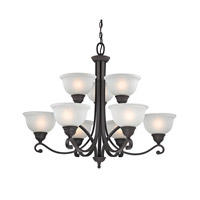 Cornerstone by Elk Hamilton 9 Light Chandelier in Oil Rubbed Bronze with White Glass 2309CH/10