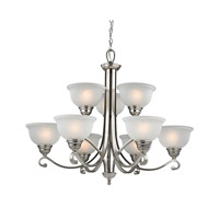 Cornerstone by Elk Hamilton 9 Light Chandelier in Brushed Nickel with White Glass 2309CH/20