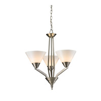 Cornerstone by Elk Tribecca 3 Light  Chandelier in Brushed Nickel with White Glass 2453CH/20