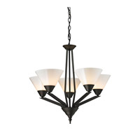 Cornerstone by Elk Tribecca 5 Light  Chandelier in Oil Rubbed Bronze with White Glass 2455CH/10