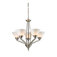 Cornerstone by Elk Tribecca 5 Light  Chandelier in Brushed Nickel with White Glass 2455CH/20
