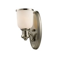 Cornerstone by Elk Brooksdale 1 Light Sconce in Satin Nickel with White Glass 2701WS/22