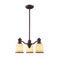 Cornerstone by Elk Brooksdale 3 Light Chandelier in Oil Bronze with Amber Glass 2703CH/16