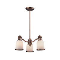 Cornerstone by Elk Brooksdale 3 Light Chandelier in Antique Copper with White Glass 2703CH/19