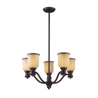 Cornerstone by Elk Brooksdale 5 Light Chandelier in Oil Bronze with Amber Glass 2705CH/16