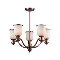 Cornerstone by Elk Brooksdale 5 Light Chandelier in Antique Copper with White Glass 2705CH/19