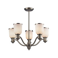Brooksdale 5 Light 25 inch Satin Nickel Chandelier Ceiling Light in White