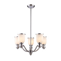 Cornerstone by Elk Brooksdale 5 Light Chandelier in Polished Chrome with White Glass 2705CH/40