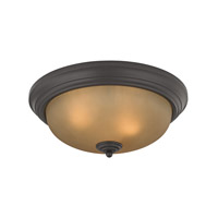 Cornerstone by Elk Signature 3 Light Flush Mount in Oil Rubbed Bronze with Light Amber Glass 7013FM/10