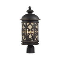 Cornerstone by Elk Tuscany Coast 2 Light Post Lantern in Weathered Charcoal with Clear Seeded Glass 7202EP/71