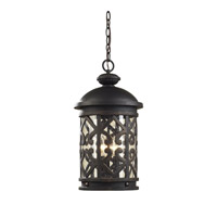 Cornerstone by Elk Tuscany Coast 3 Light Outdoor Hanging Lantern in Weathered Charcoal with Clear Seeded Glass 7203EH/71