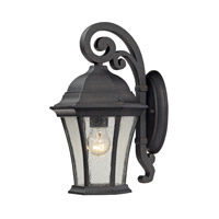 Cornerstone by Elk Wellington Park 1 Light Outdoor Wall Lantern in Weathered Charcoal with Clear Water Glass 7301EW/71