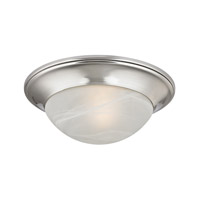 Cornerstone by Elk Signature 1 Light Flush Mount in Brushed Nickel with Acid Etched and Alabaster Glass 7301FM/20