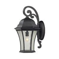 Cornerstone by Elk Wellington Park 1 Light Outdoor Wall Lantern in Weathered Charcoal with Clear Water Glass 7331EW/71