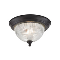 Cornerstone by Elk Liberty Park 2 Light Flush Mount in Oil Rubbed Bronze with Prismatic Clear Glass 7672FM/10