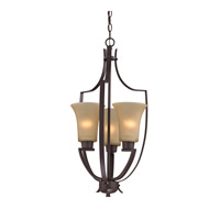 Signature 3 Light 15 inch Oil Rubbed Bronze Foyer Pendant Ceiling Light in Light Amber