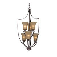 Cornerstone by Elk Signature 6 Light Foyer Pendant in Oil Rubbed Bronze with Light Amber Glass 7706FY/10